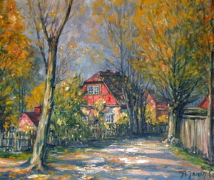 """Hier kommen Sie zur Vergrößerung des Ölbildes """"Dorfstraße"""", gemalt  von Alfred Janigk"""
