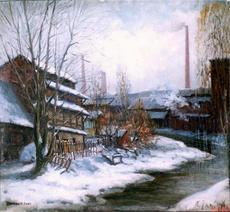 Hier kommen Sie zu der Vergrößerung des Ölbildes Gerberhäuser an der Mühleninsel von Alfred Janigk