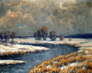 """Hier kommen Sie zur Vergrößerung des Bildes """"Winteridylle"""", gemalt von Alfred Janigk."""
