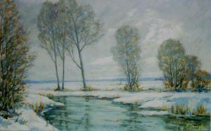 """Hier kommen Sie zur Vergrößerung des Bildes """"Winterlandschaft"""", gemalt von Alfred Janigk."""