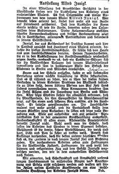 Hier kommen Sie zu der Vergrößerung des Artikels über Alfred Janigk im Cottbuser Anzeiger - Nr. 94 vom 22.04.1913